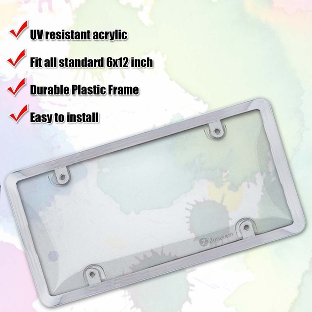 Zone Tech Chrome/Clear License Plate Frame and Cover for Auto Car Truck SUV