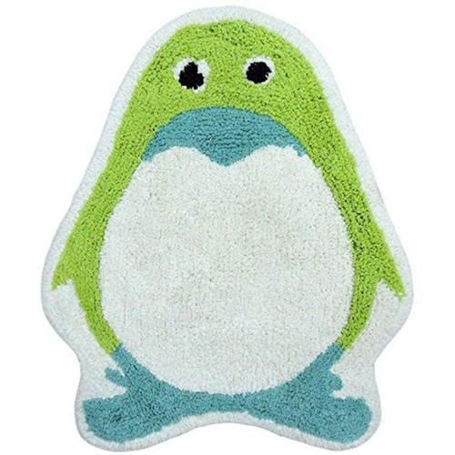 Spura Home Kids Green Penguin Printed Bath Mat 20x28 Mat for Bathroom