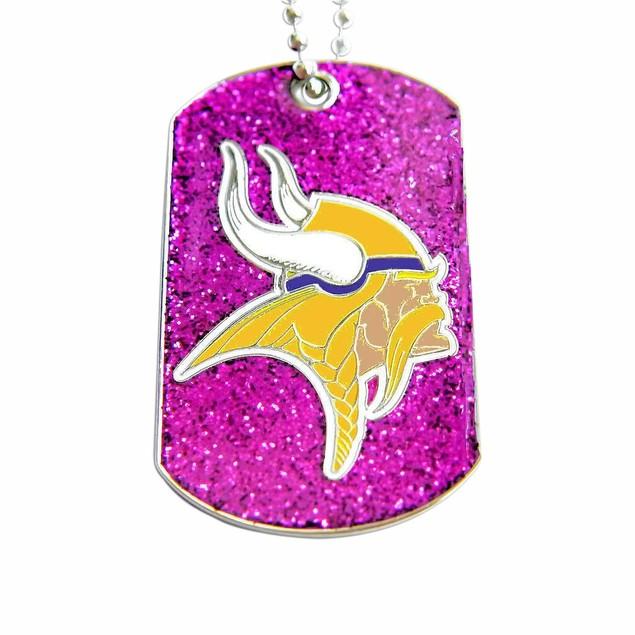 Minnesota Vikings Dog Fan Tag Glitter Sparkle Necklace NFL