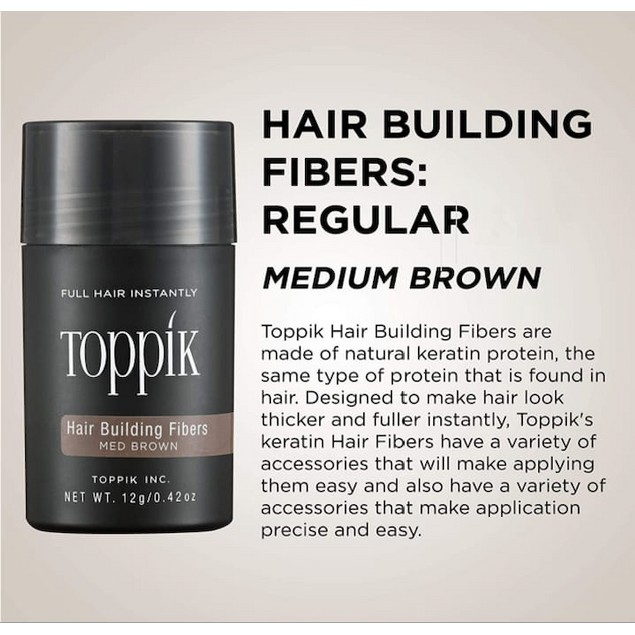 TOPPIK HAIR BUILDING NATURAL KERATIN FIBERS FOR MEN & WOMEN