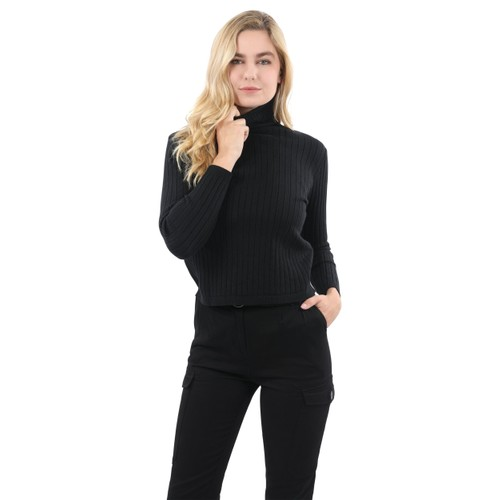 Roxbury Ribbed Turtleneck Sweater - Black