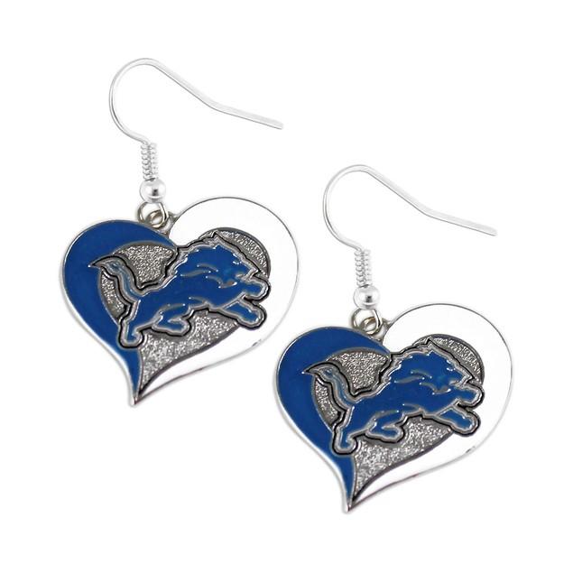 Detroit Lions Swirl Heart Dangle Earring Set NFL Charm Gift