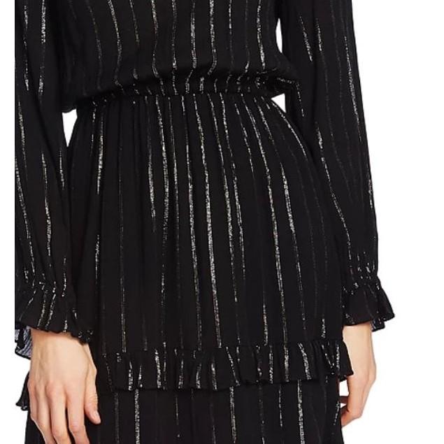 CeCe Women's Metallic Stripe Ruffle Dress Black Grey Size Large