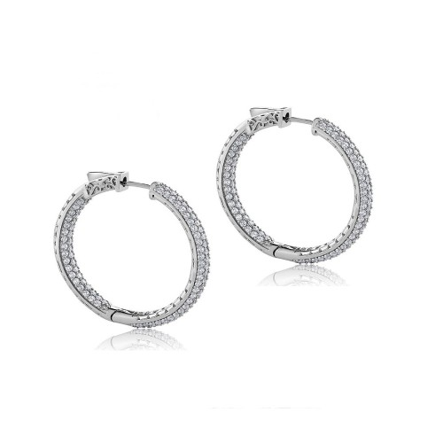 Sterling Silver 25mm Insideout Pave Setting Cubic Zircon Hinge Hoop Earring