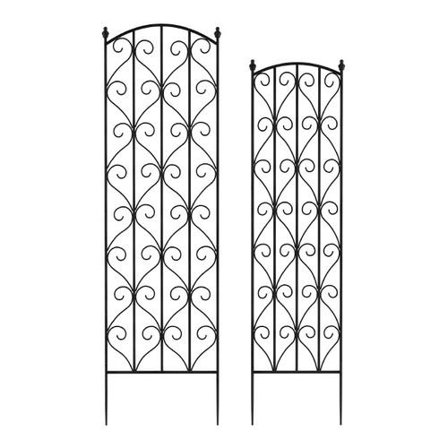Garden Trellis- For Climbing Plants-Set of 2- Metal Panels (Black)