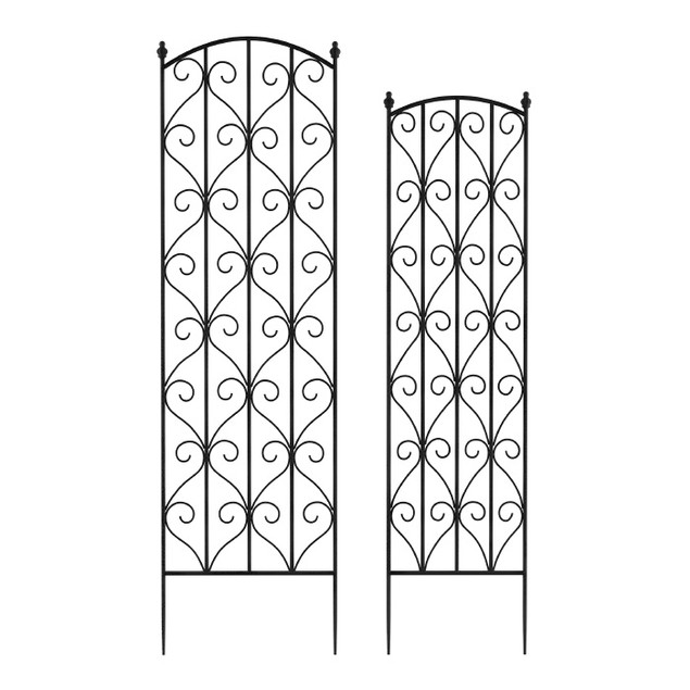 Garden Trellis- For Climbing Plants-Set of 2- Metal Panels (Black)