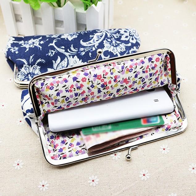 Women Rectangle Canvas Agrafe Purse Wallet Card Holder Coin Clutch Handbag