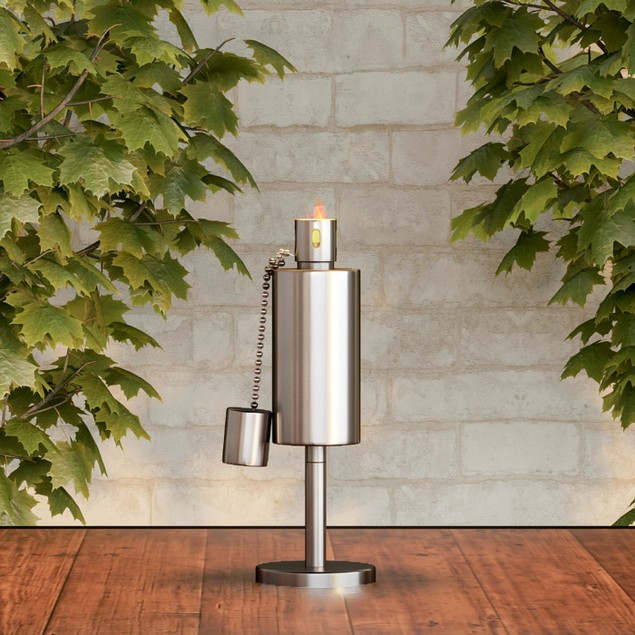 Tabletop Torch Lamp- 10.5 in. Stainless Steel Outdoor Fuel Canister