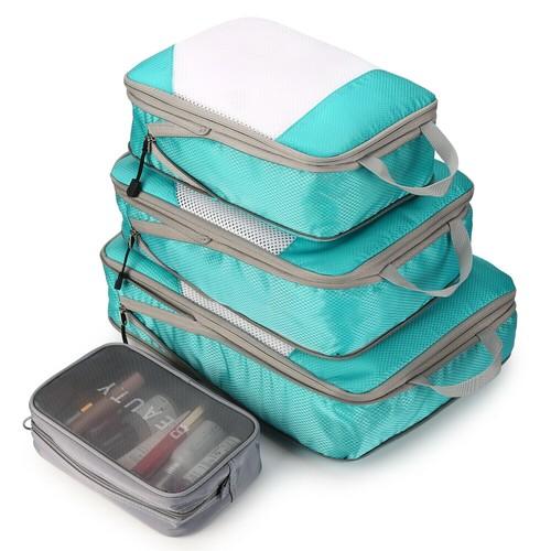 4PCS BLUE TRAVEL SUITCASE STORAGE BAG SET CLOTHES PACKING CUBE