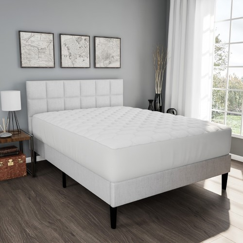 Padded Mattress Cover-100% Cotton Twin Overstuffed Quilted Skirted