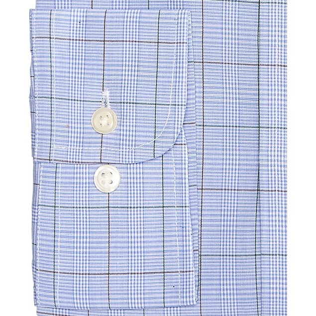 Club Room Men's Classic/Regular Fit Printed Dress Shirt Blue Size 17-36-37