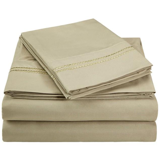 Wrinkle-Resistant 2-Line Embroidery Microfiber Sheet Set