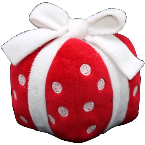 Plush Singing Red and White Christmas Present Dog Toy