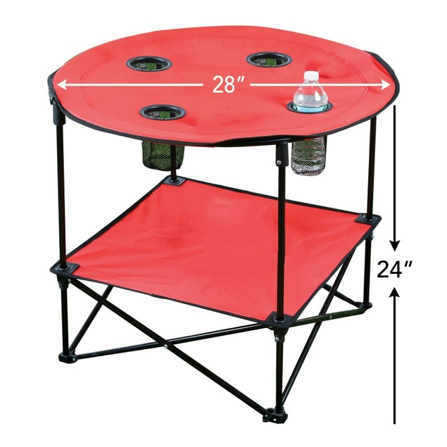 """Round Folding Table - 28"""" Portable Picnic Beach Table W/ Bag Red"""