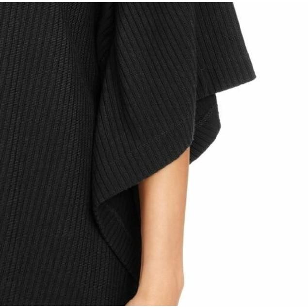 Alfani Women's  Ribbed Boat-Neck Poncho Top Black Size 2 Extra Large
