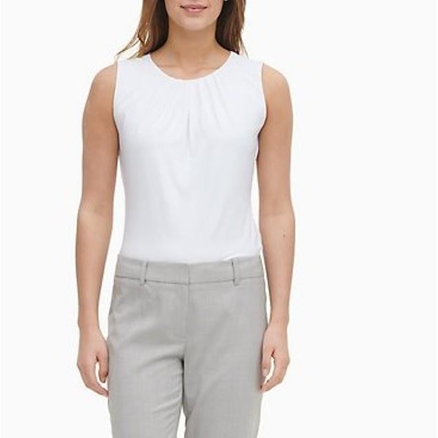 Calvin Klein Women's Slim-Leg Ankle Windowpane Pants Silver Size 12