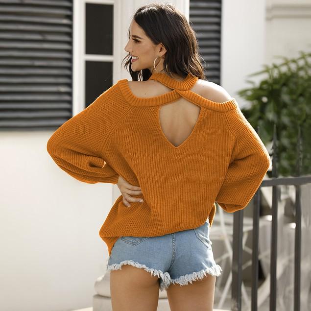 Hollow Back Loose Off Shoulder Knit Sweater