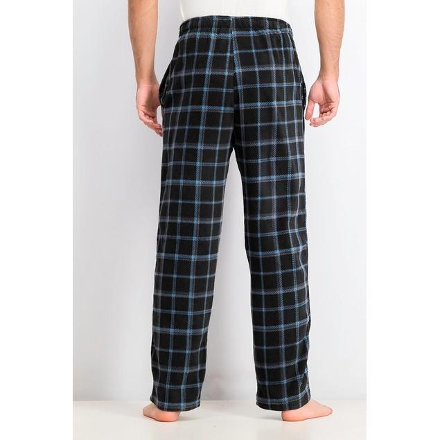 Perry Ellis Men's Windowpane Plaid Fleece Pajama Pants Black Size Medium