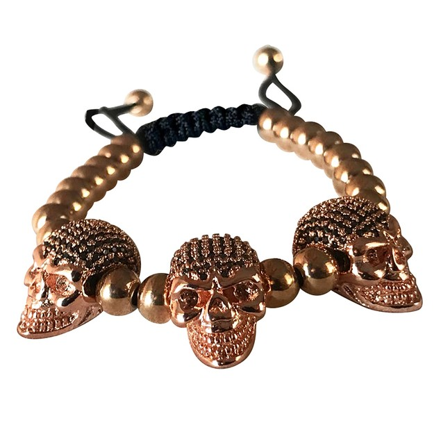Men's Fashion Macrame Bracelet Diamond Skull Heads