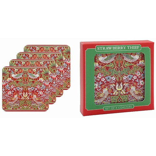 William Morris Strawberry Thief Red Set Of 4 Coasters By Lesser and Pavey