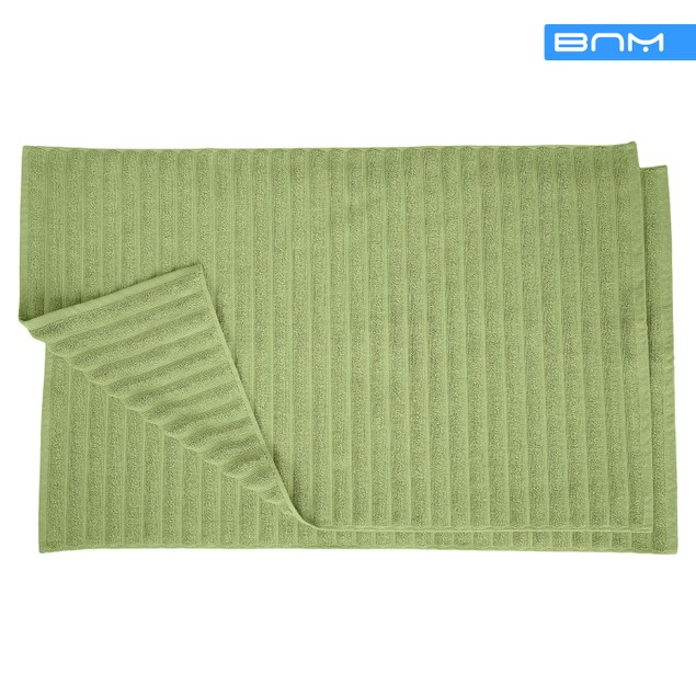Lined 100% Combed Cotton Bath Mats Set for Bathroom 2 Piece