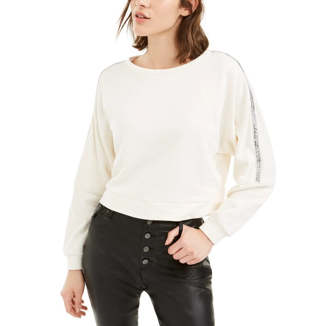 Bar III Women's Shine Stripe Sweatshirt White Size Extra Large
