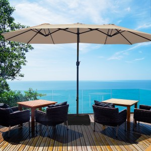 Costway 15 Ft Patio Double Sided Umbrella Outdoor Market Umbrella BeigeTanO