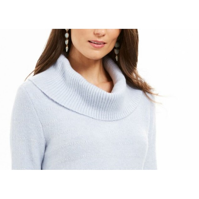 Style & Co Women's Lurex Cowl-Neck Sweater Blue Size Extra Large