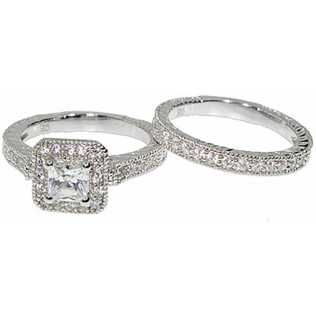 1 Carat Princess Bridal Wedding Ring Set