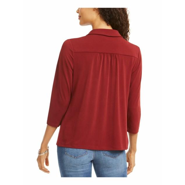 Charter Club Women's Knit Polo Shirt Red Size Medium