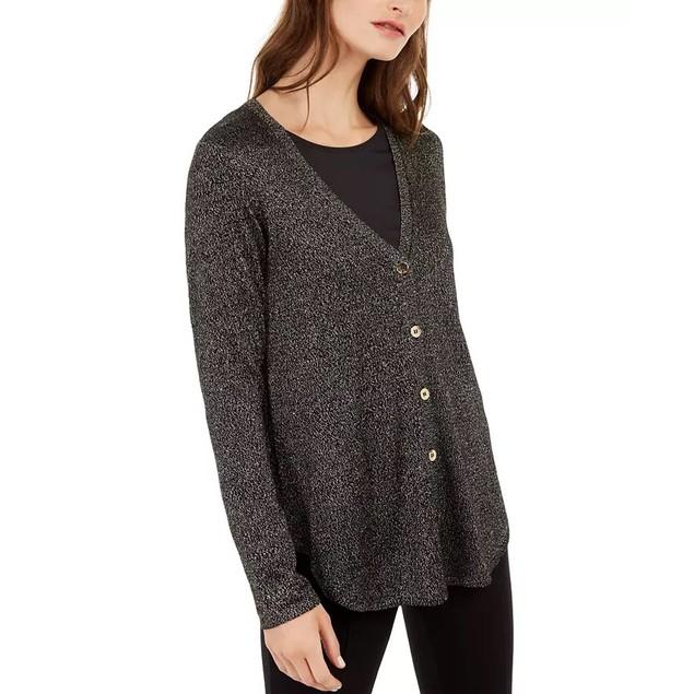 Alfani Women's Metallic Shirttail Cardigan Sweater Black Size Petite Medium