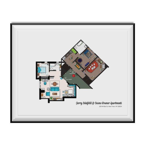 Jerry Seinfeld And Cosmo Kramer Apartments Floor Plan Poster 11 x 17