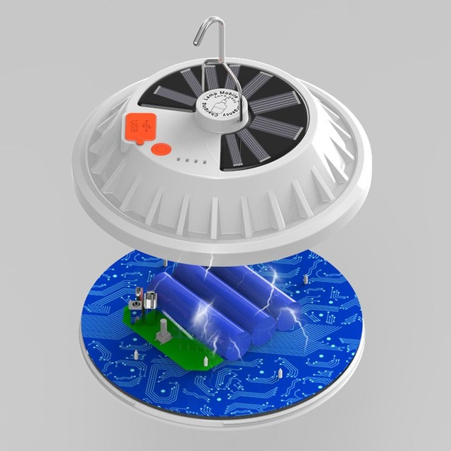 Solar Rechargeable LED UFO Light Household Power Outage Emergency Light Bulb Outdoor Camping Light Night Market Stall Light