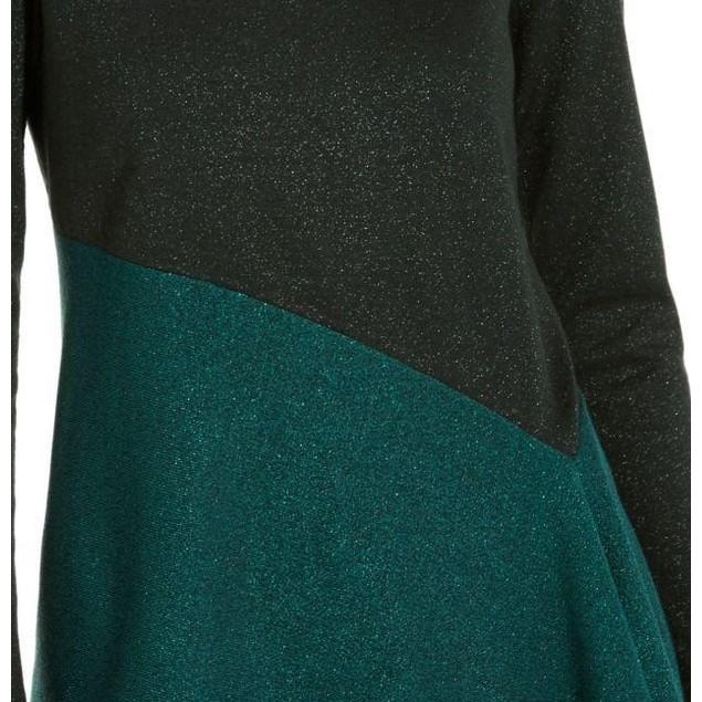 Alfani Women's Asymmetrical Colorblocked Shimmer Top Green Size Small