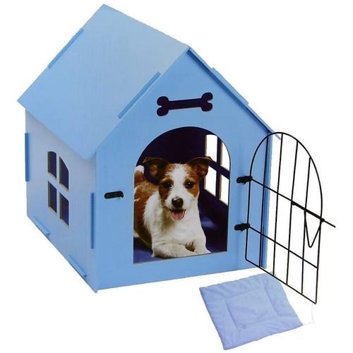 Wood Dog House W/ Mat - Wooden Pet House - Blue