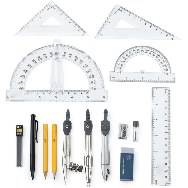 15 Piece: Ruler Supplies Math Drawing Set with Protractor and Compass