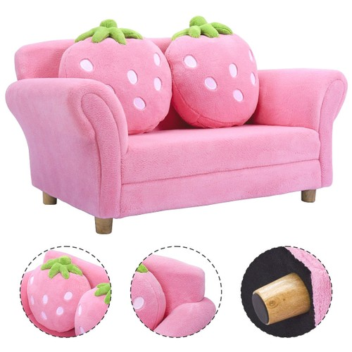 Costway Kids Sofa Strawberry Armrest Chair Lounge Couch w/2 Pillow Children