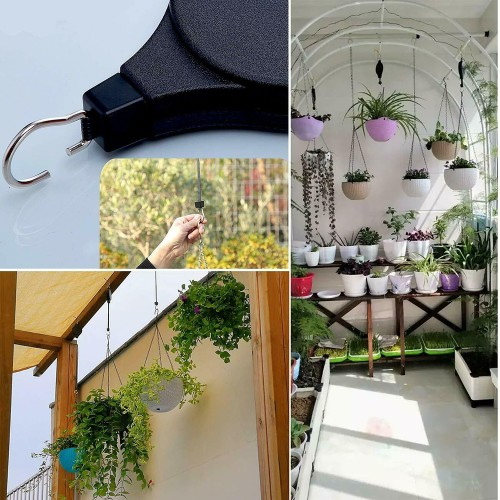 Plant Pulley Hanging Basket Hooks Retractable Flower Basket Pot Hanger