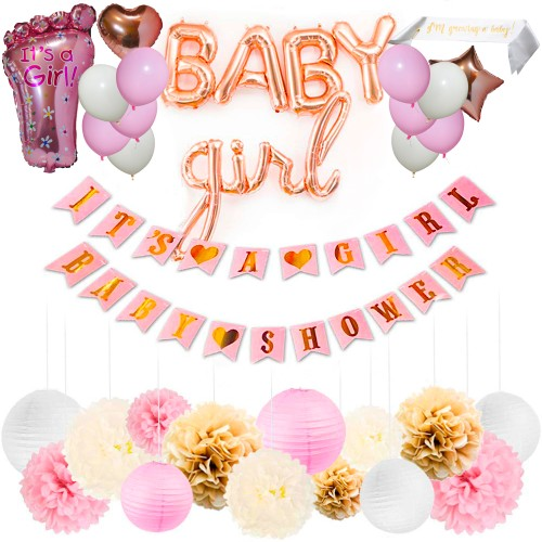 37 Piece Baby Shower Decoration Kit for Baby Girl