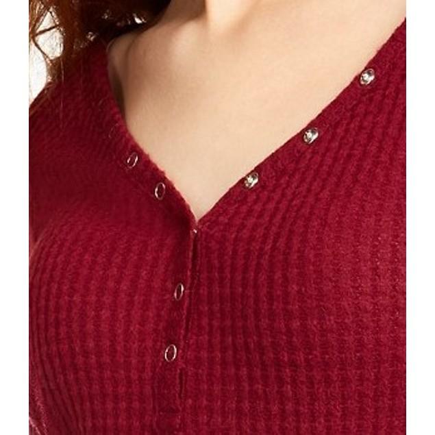Ultra Flirt Juniors' Cozy Waffle-Knit Henley Top Red Size Medium