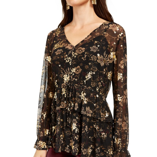 Style & Co Women's Printed Mesh Top Black Size Small