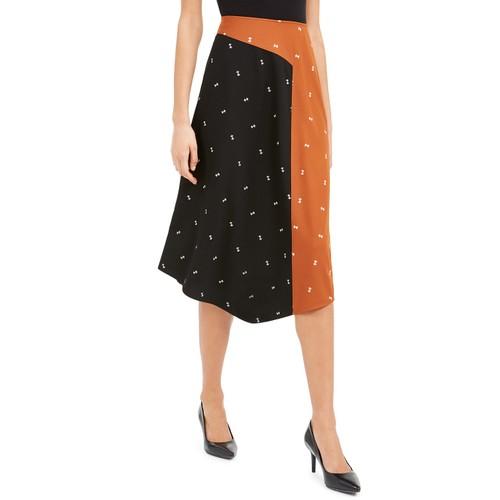 Alfani Women's Asymmetrical Twin-Print Skirt Brown Size 16