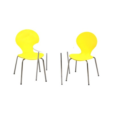 Childrens Table And 2 Chair Set With Chrome Legs (Yellow Color Chairs)
