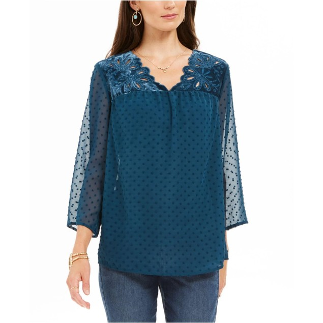 Style & Co Women's Mixed-Media Sheer-Sleeve Blouse Blue Size Medium
