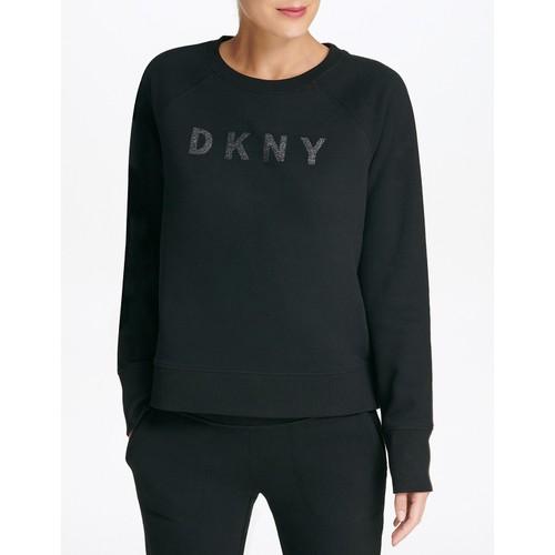 DKNY Wonen's Sport Sparkle-Logo Sweatshirt Black Size Medium