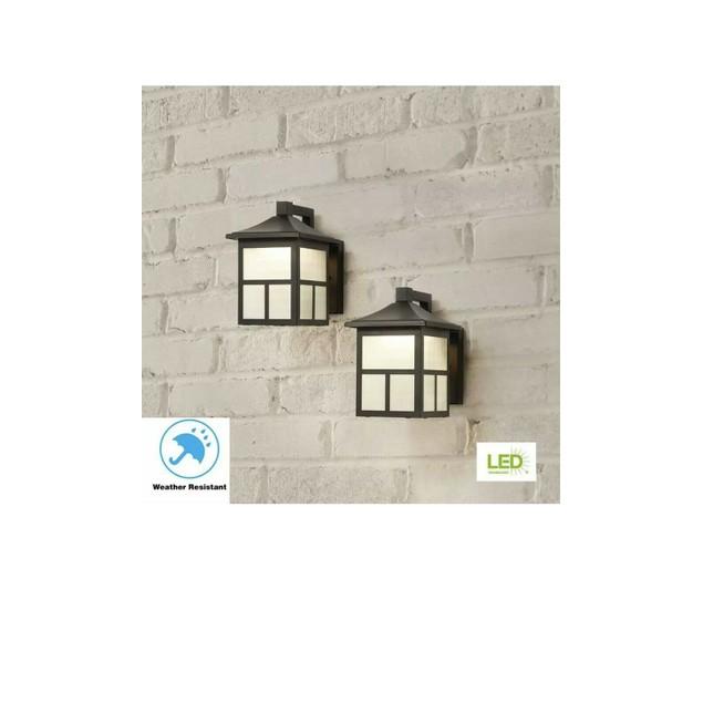 "Hampton Bay 8"" Outdoor Integrated LED Wall Lantern Sconce Light, 2 Pk,"