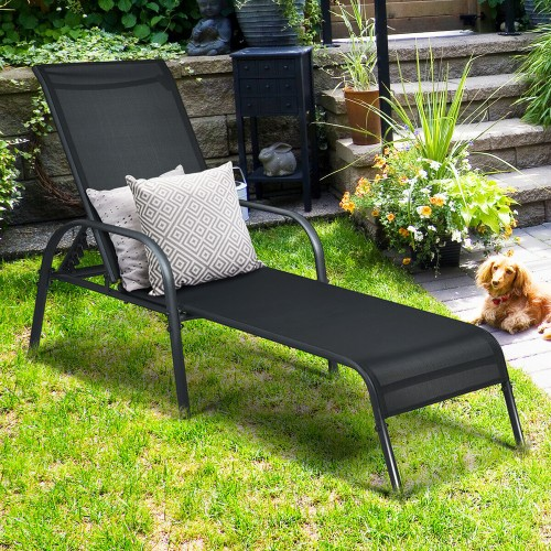 Goplus Patio Chaise Lounge Outdoor Folding Recliner Chair w/ Adjustable Bac