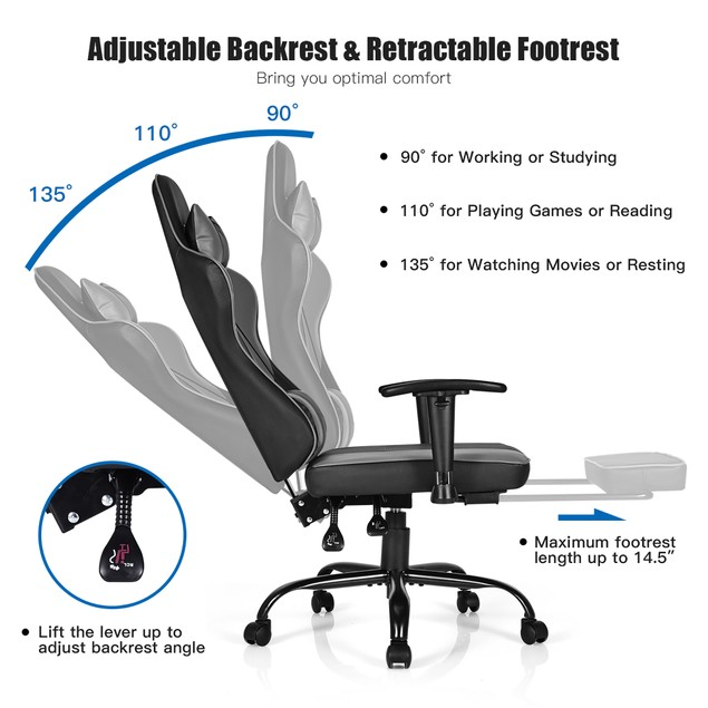 Costway Gaming Chair Racing High Back Office Chair w/ Footrest Black