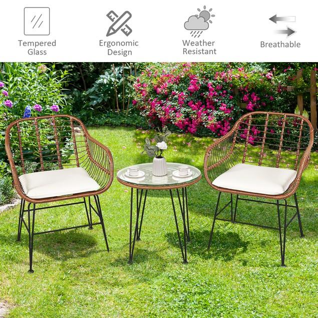 Costway 3PCS Patio Rattan Bistro Set Coffee Table Armchair Garden Beige Cus