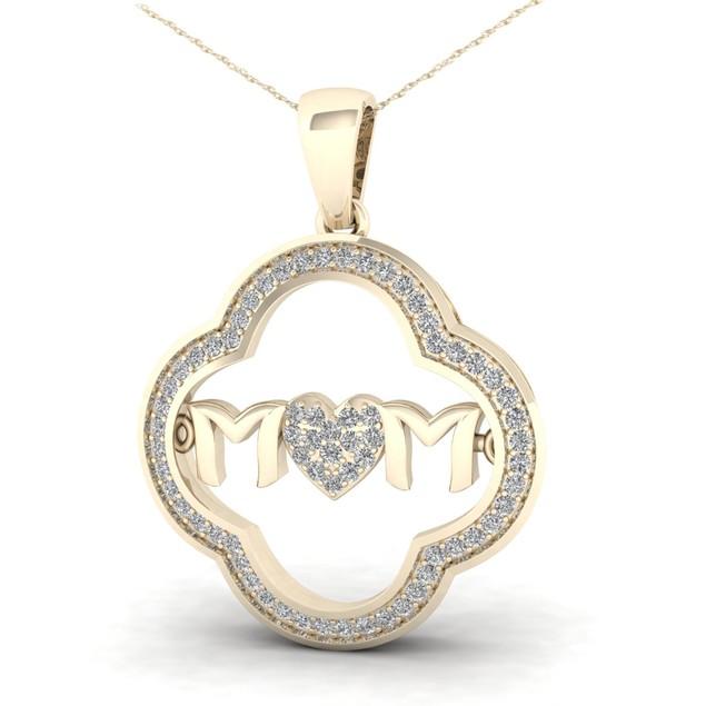 De Couer 10K Gold 1/5ct TDW Diamond Mom Heart Necklace (H-I, I2)